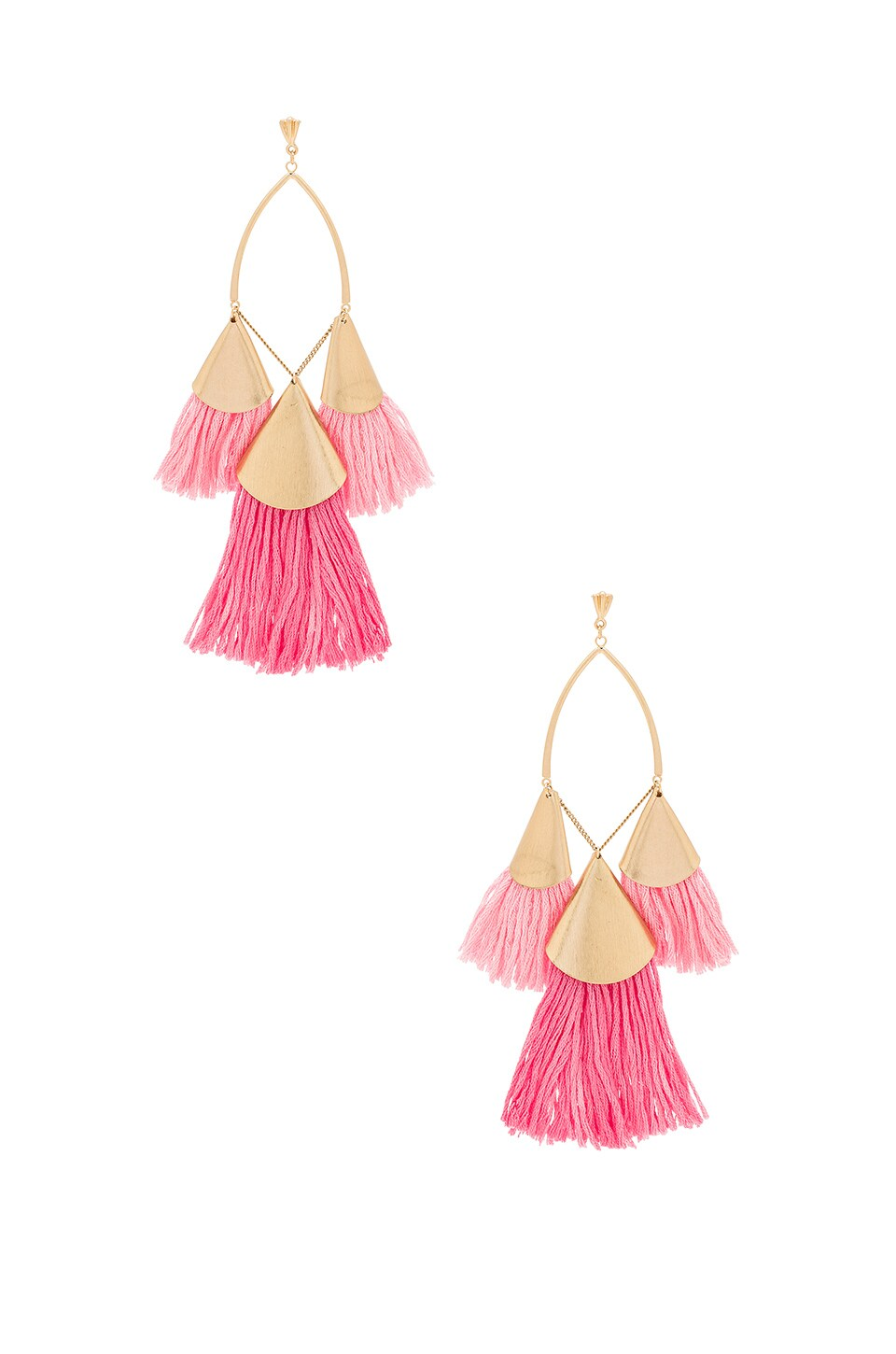 Ettika Tri Tassel Earrings in Pink