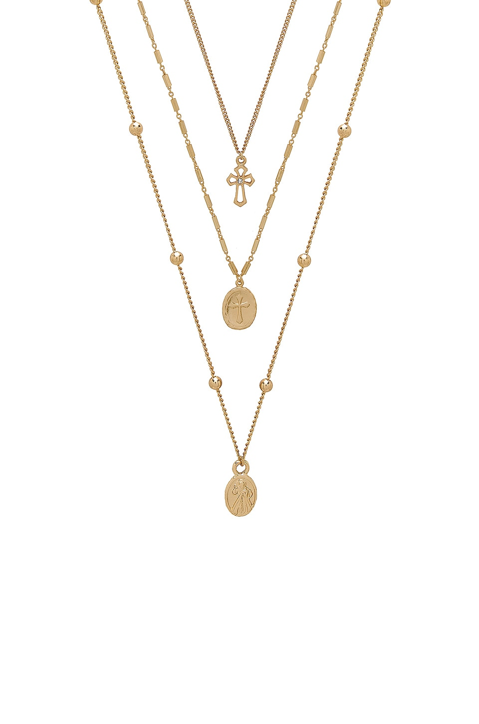 Ettika Single Charmer Necklace Set in Gold