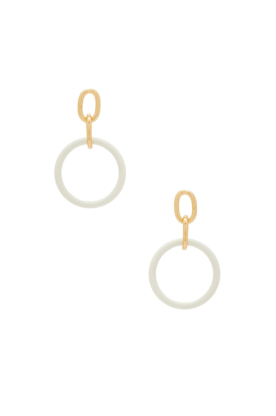 Ettika Double Drop Earrings in White