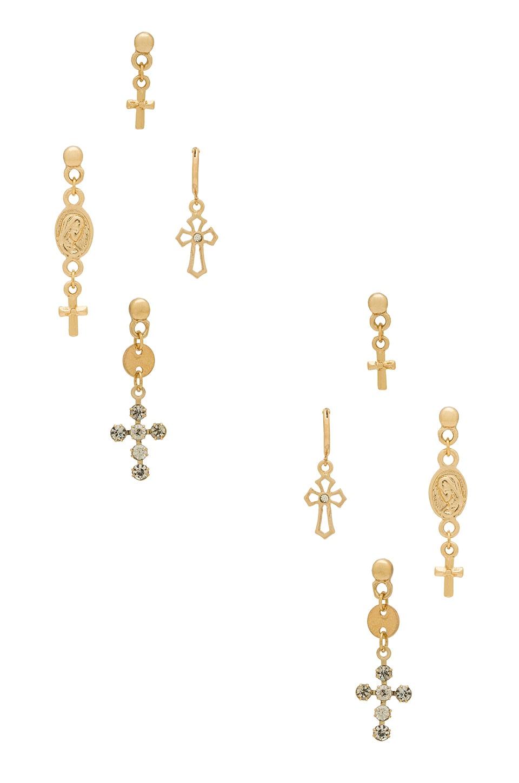 Ettika Cross Earring Set in Gold