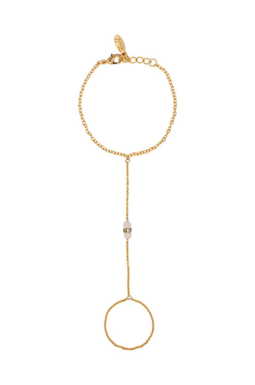 Ettika Handchain in Gold & White