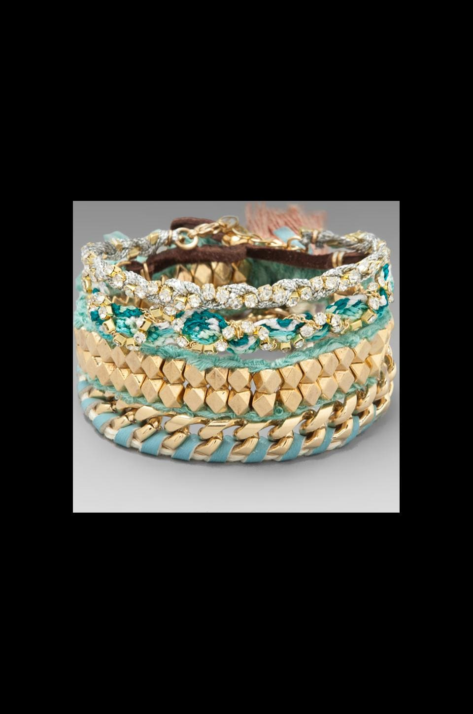 Ettika Gold Chain Wrap Bracelet in Turquoise Multi