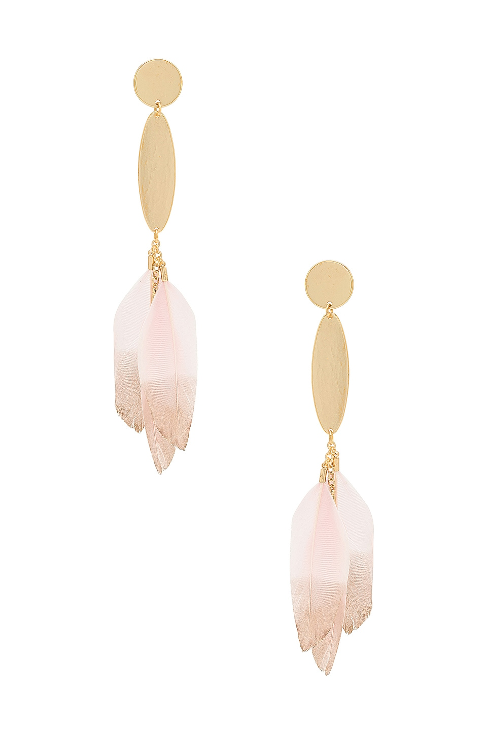 Ettika Feather Drop Earrings in Pink