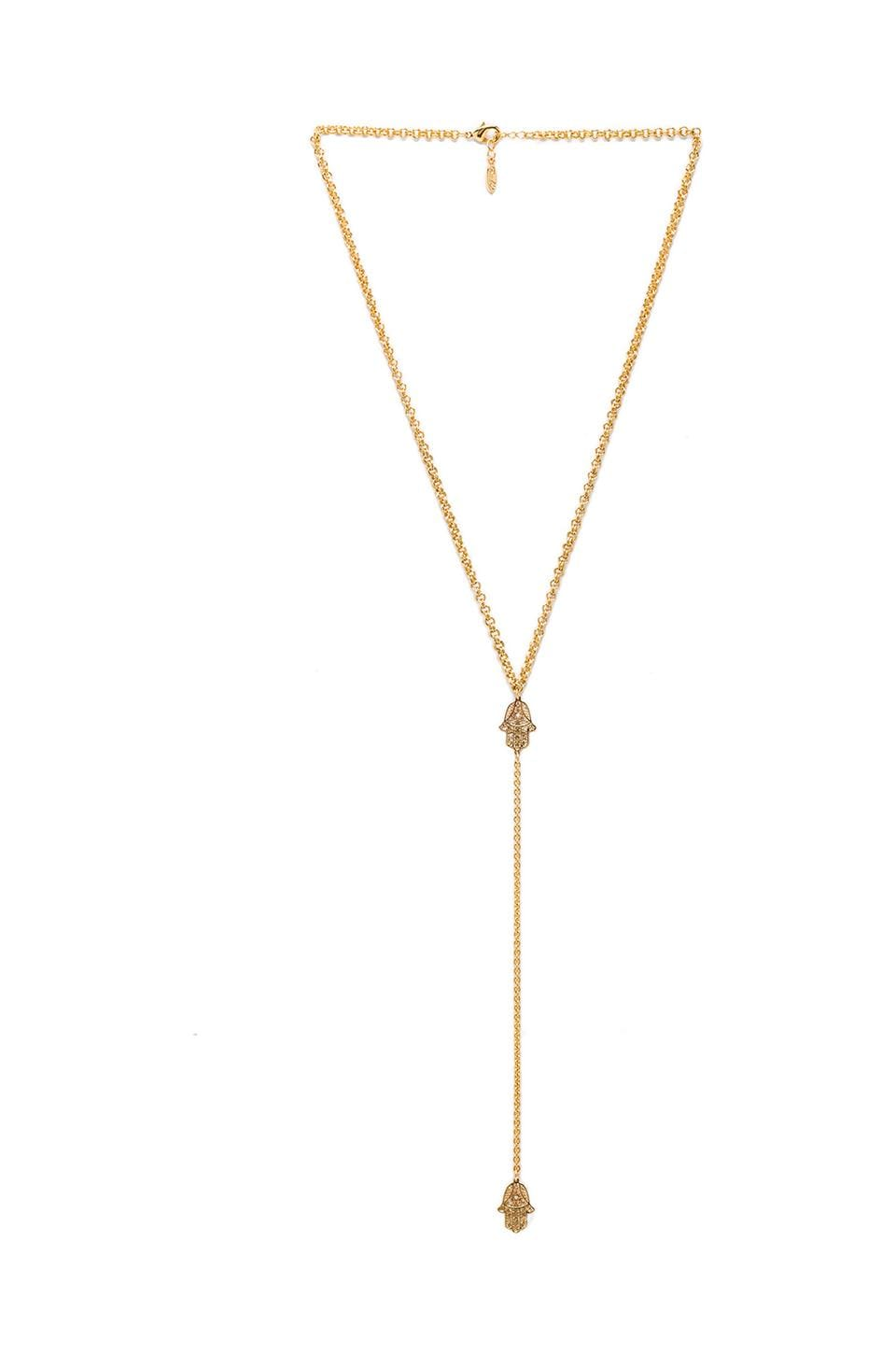 Ettika Hamsa Lariat Necklace in Gold