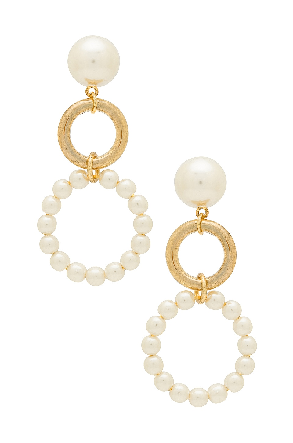 Ettika Double Drop Earrings in Gold & Pearl