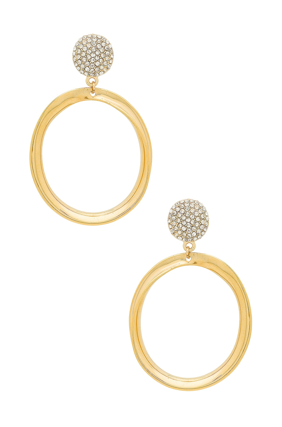 Ettika Drop Circle Earrings in Gold & Pearl