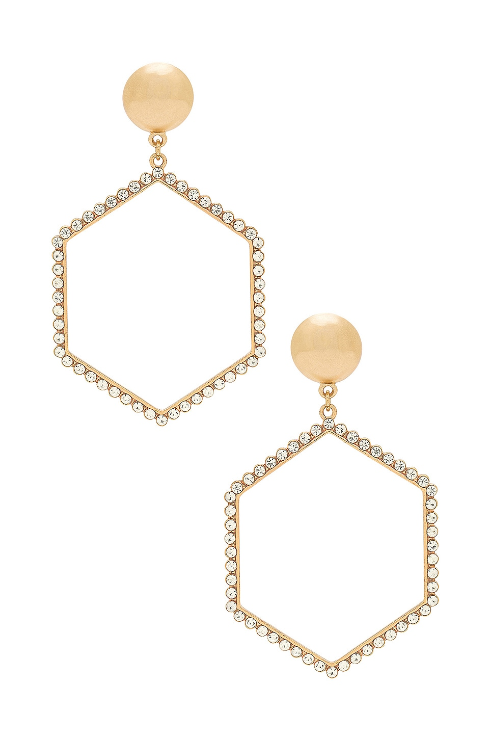 Ettika Hexagon Drop Earrings in Gold