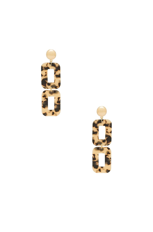 Ettika Double Drop Earrings in Brown & Gold