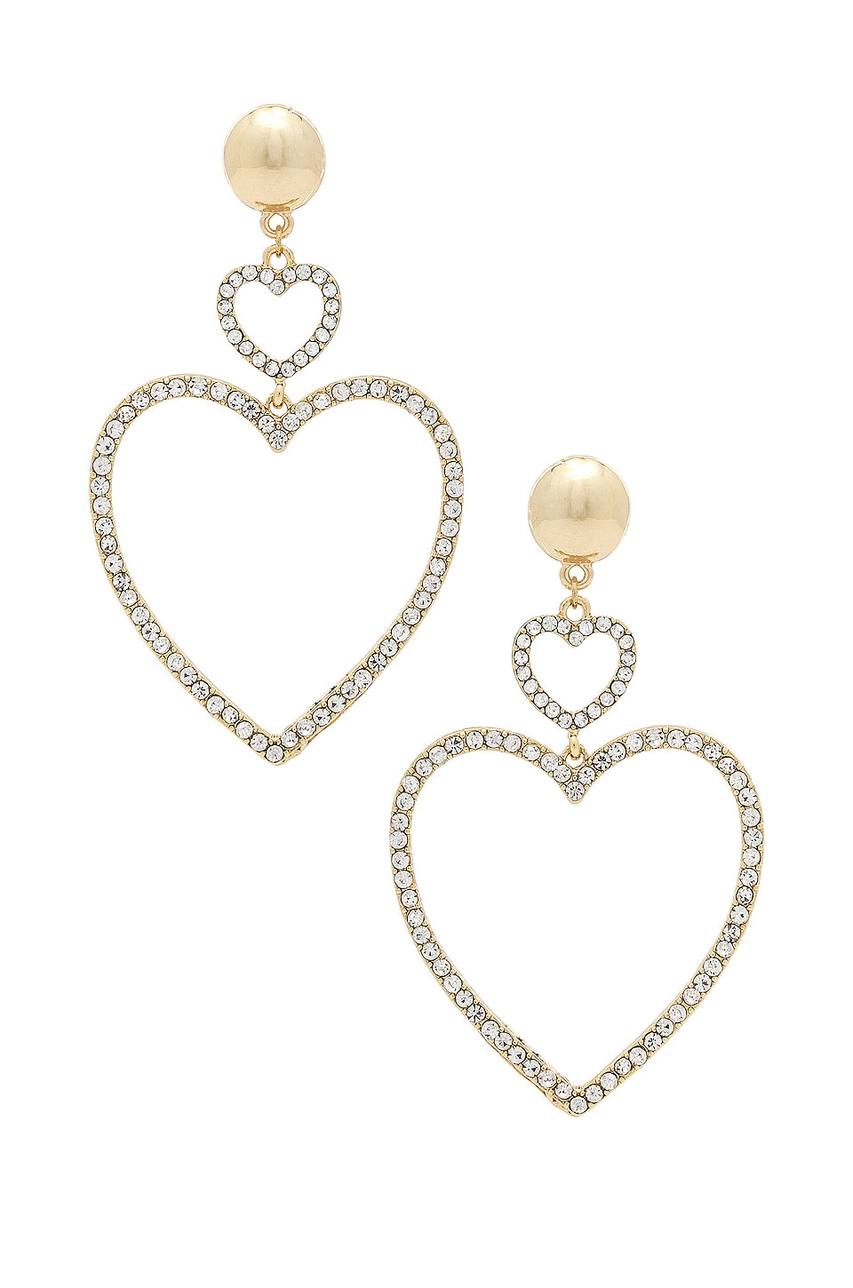 Ettika Two Hearts Drop Earrings in Gold
