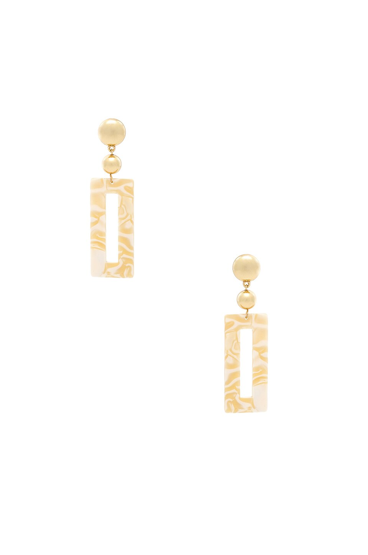 Ettika Rectangular Drop Earrings in Beige & Gold