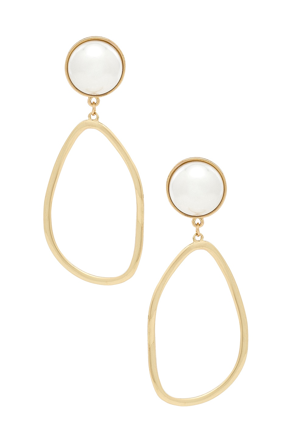 Ettika Pearl Drop Earrings in Pearl & Gold