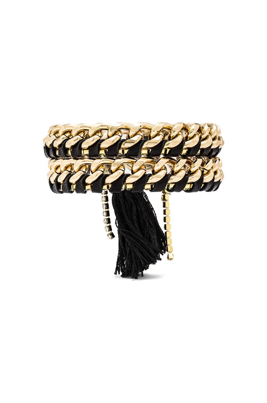 Ettika Wrap Chain Bracelet in Black Gold