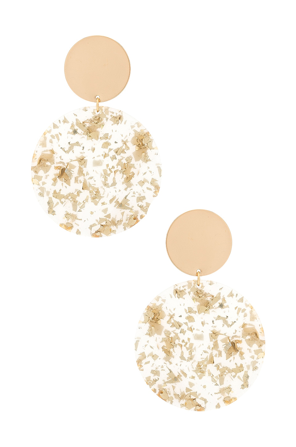 Ettika Double Circle Drop Earrings in Neutral