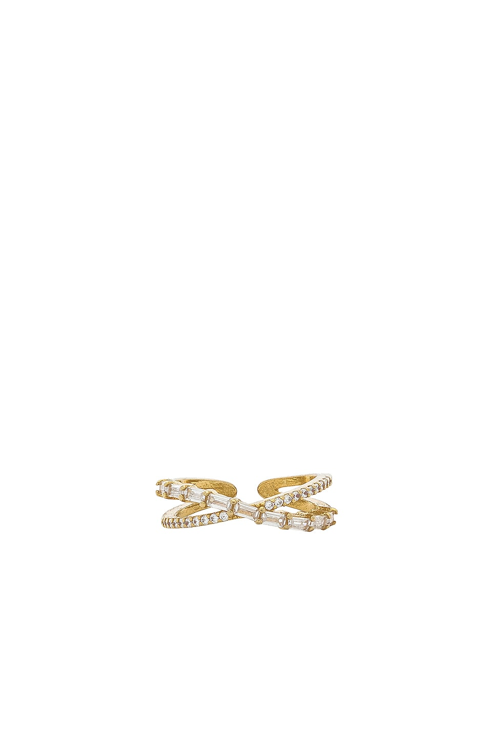 Ettika Rhinestone Cross Ring in Gold