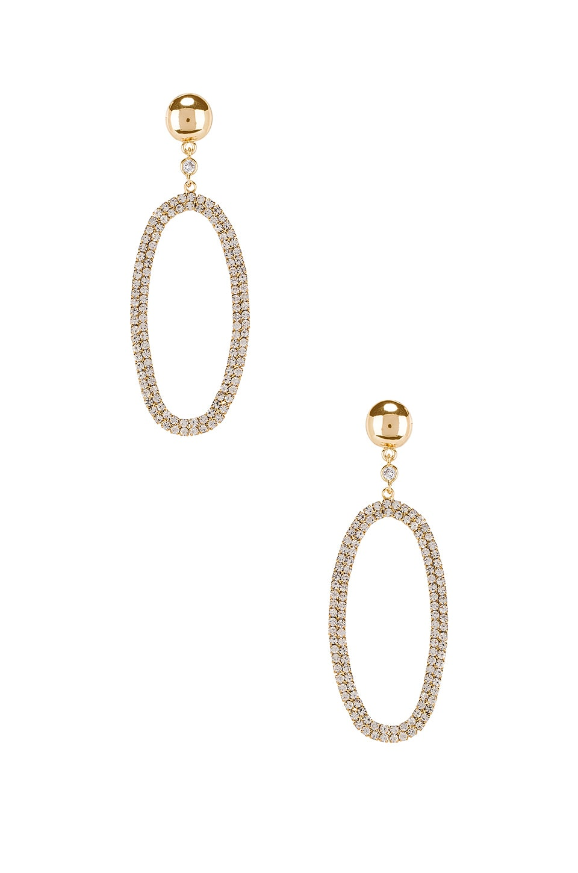 Ettika Rhinestone Oval Dangling Earring in Gold