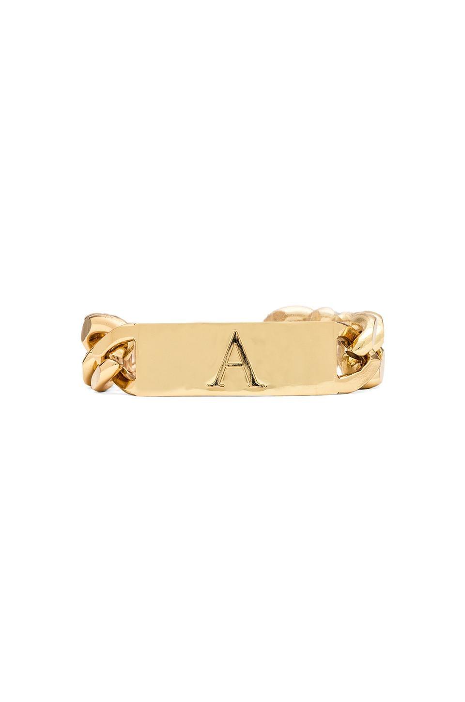 Ettika A Initial ID Bracelet in Gold