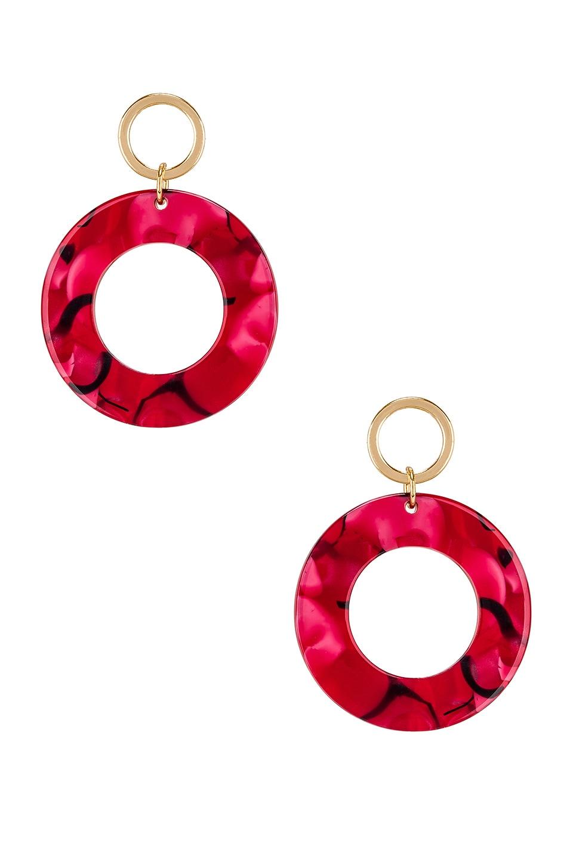 Ettika Double Hoop Drop Earring in Red