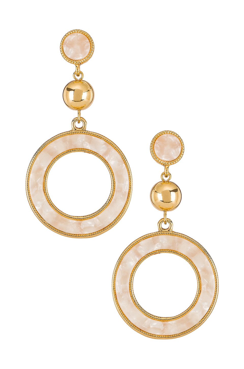 Ettika Drop Hoop Earrings in White