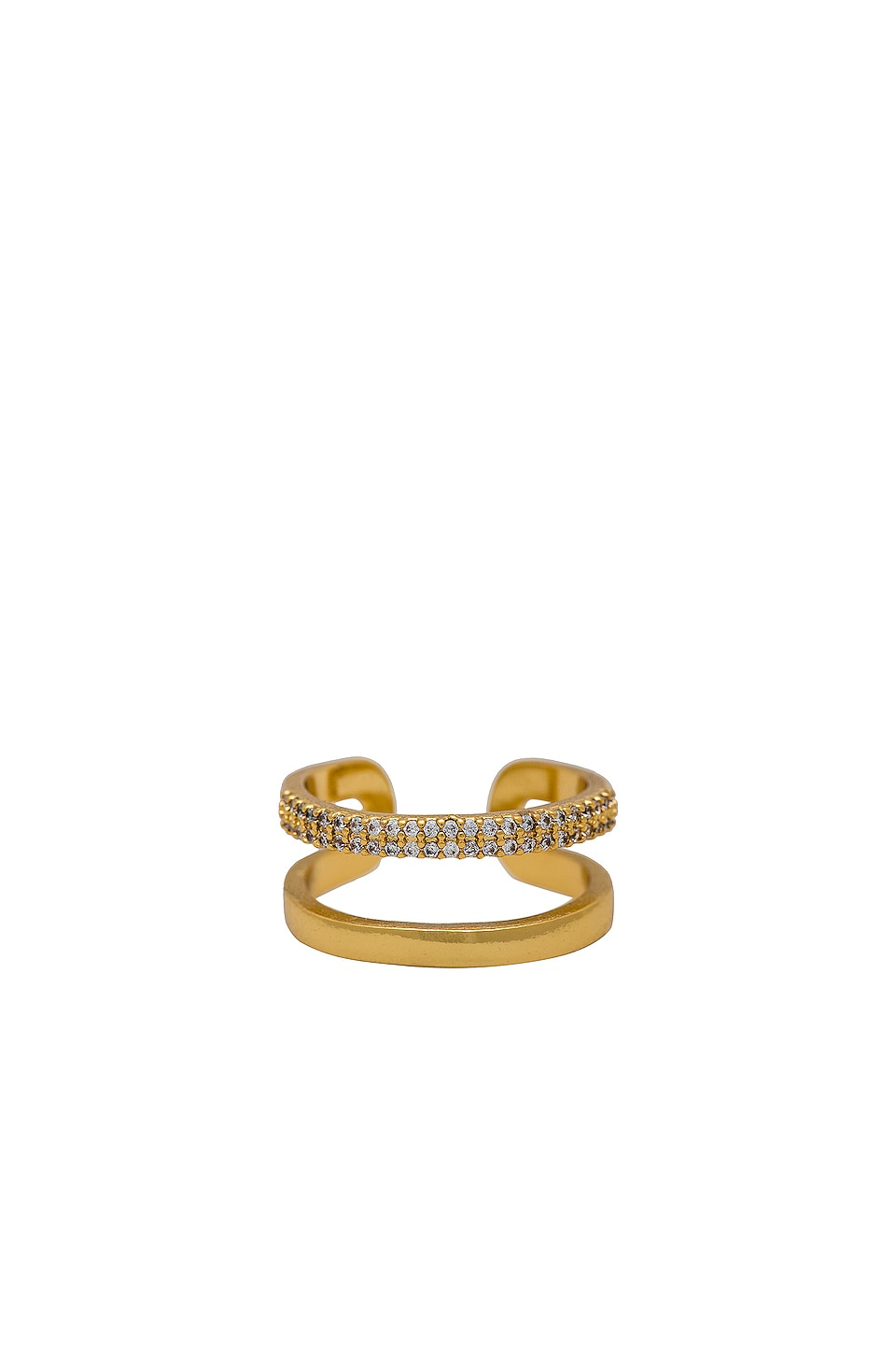Ettika Rhinestone Double Band Ring in Gold
