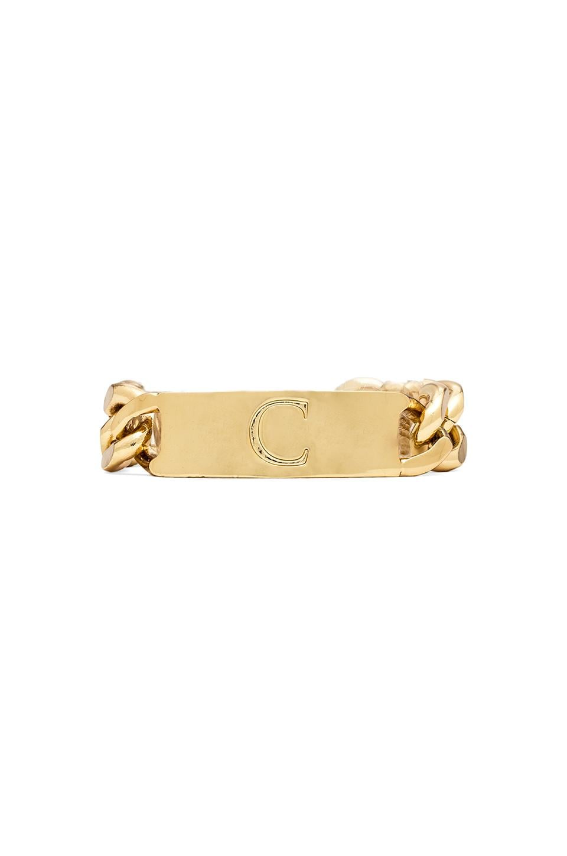 Ettika C Initial ID Bracelet in Gold