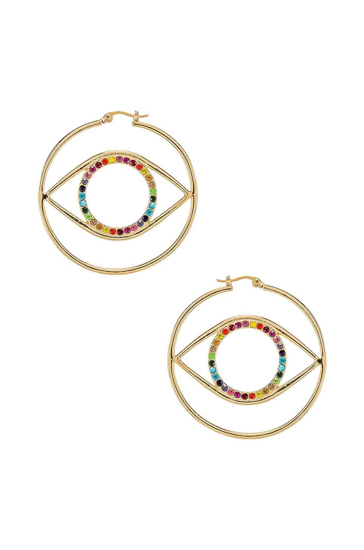 Ettika Eye Earring in Rainbow Gold