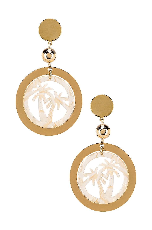 Ettika Palm Tree Earring in Cream & Gold