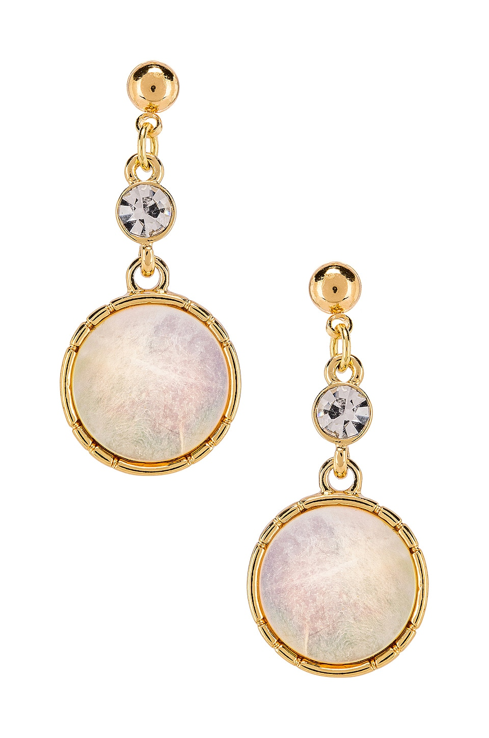 Ettika Dangle Earring in White & Gold