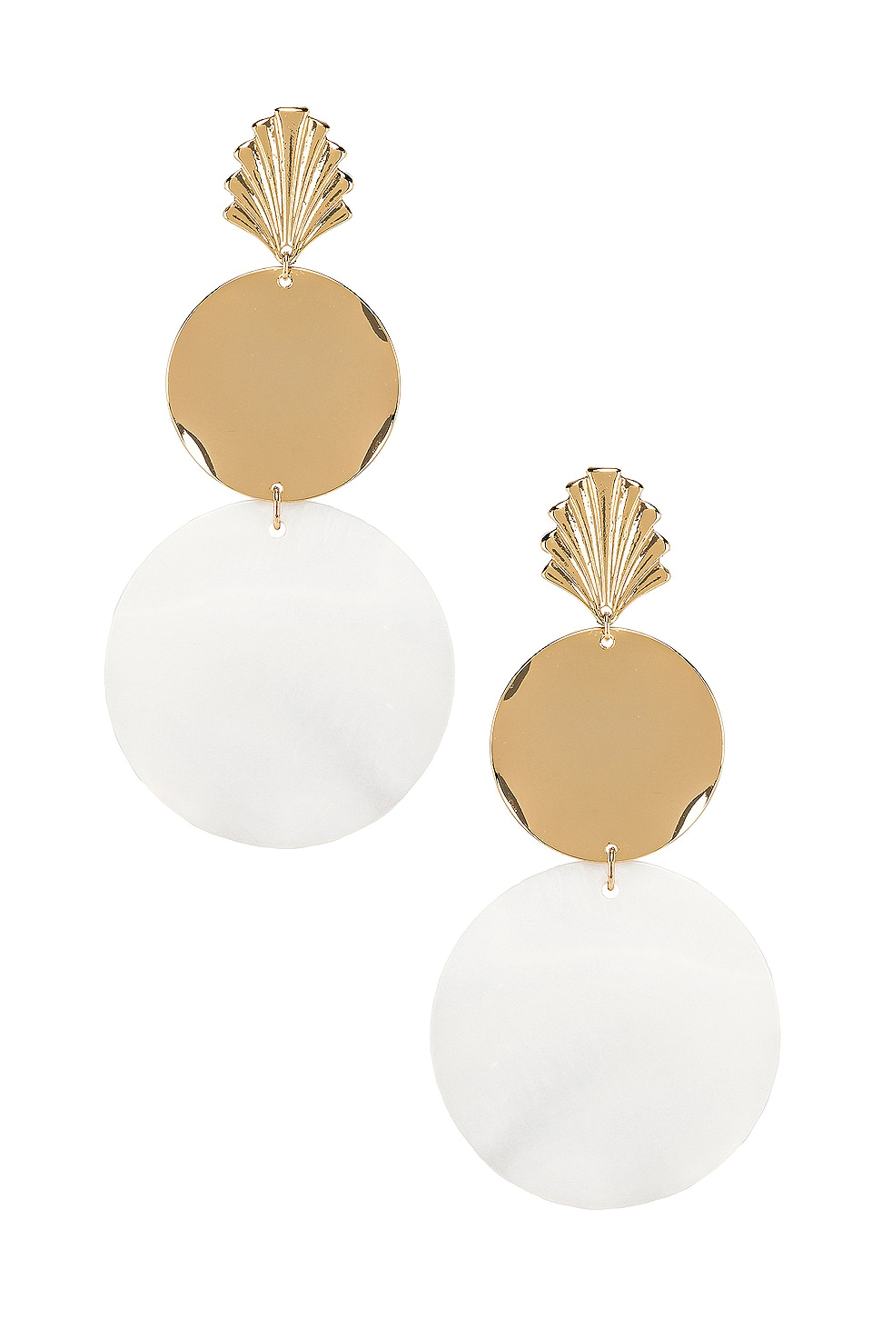 Ettika Seashell Drop Earrings in Gold & Cream