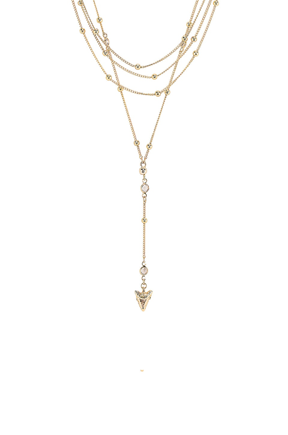 Ettika Layered Shark Tooth Lariat Necklace in Clear & Gold
