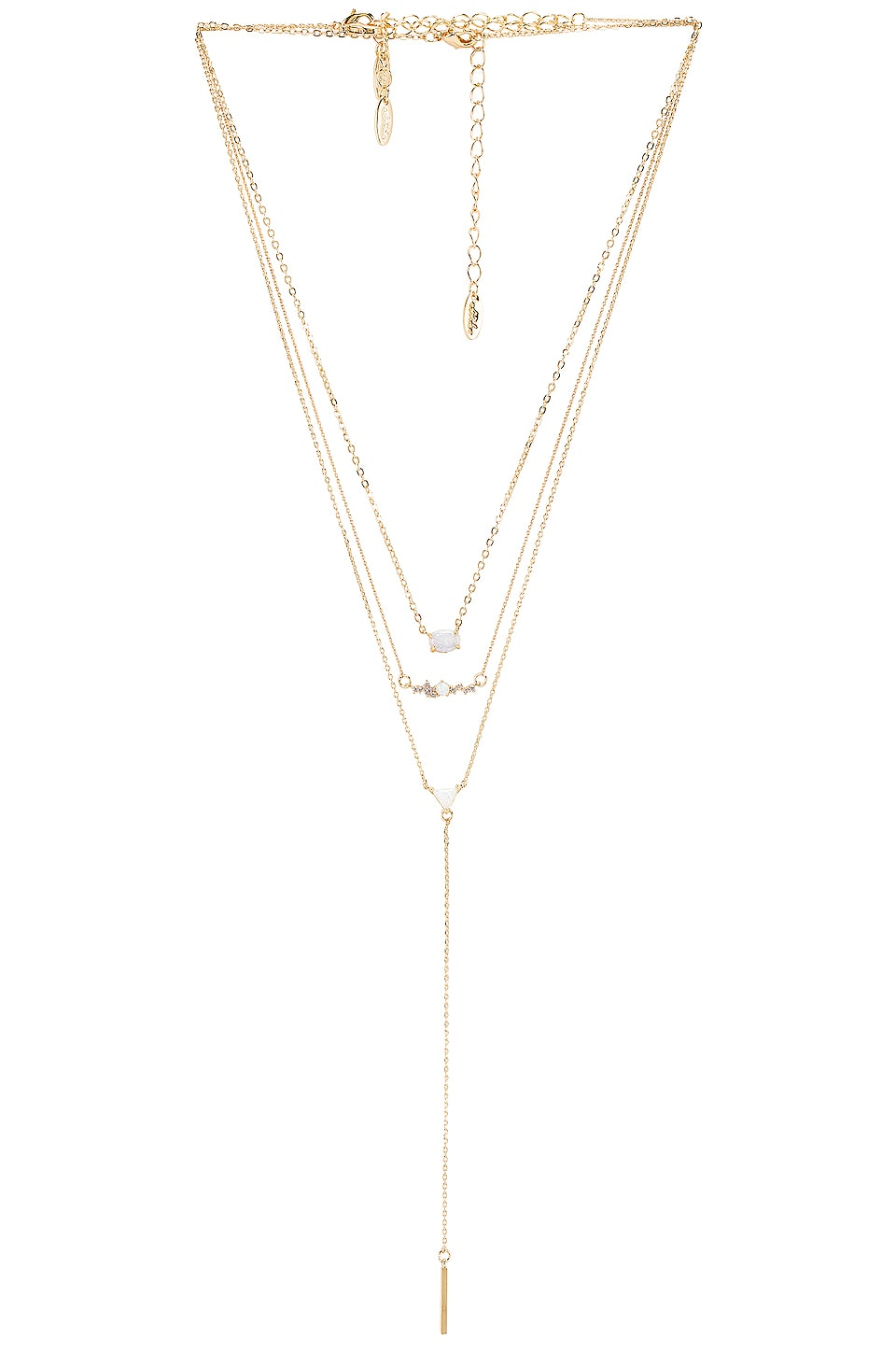 Ettika Layered Opal Lariat Necklace in Gold