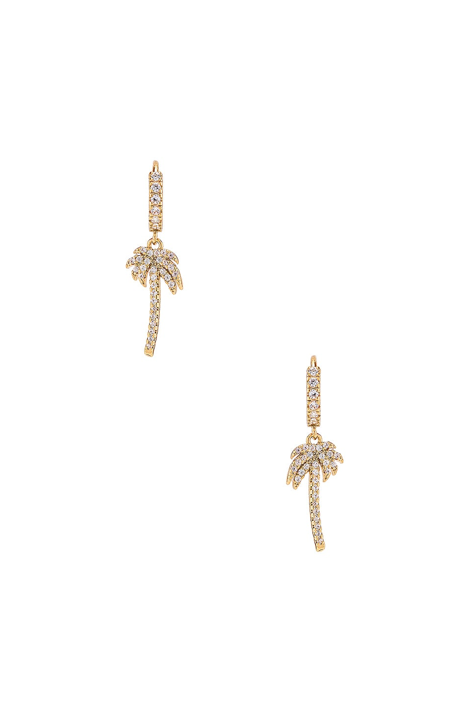 Ettika Palm Tree Huggie Earrings in Gold
