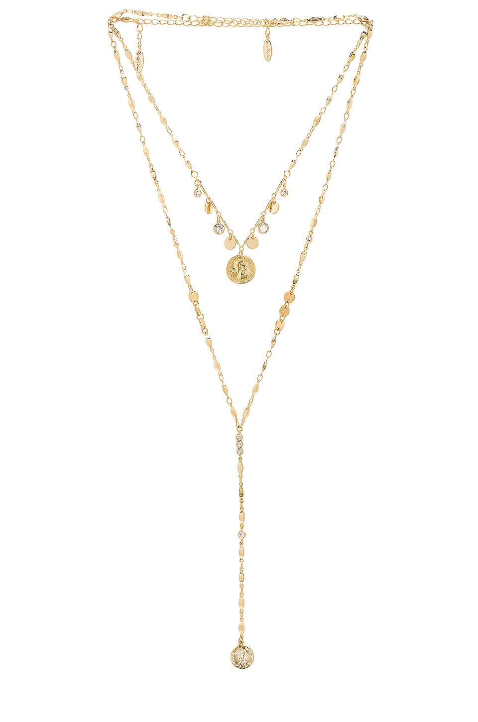 Ettika Layered Lariat Coin Necklace in Gold