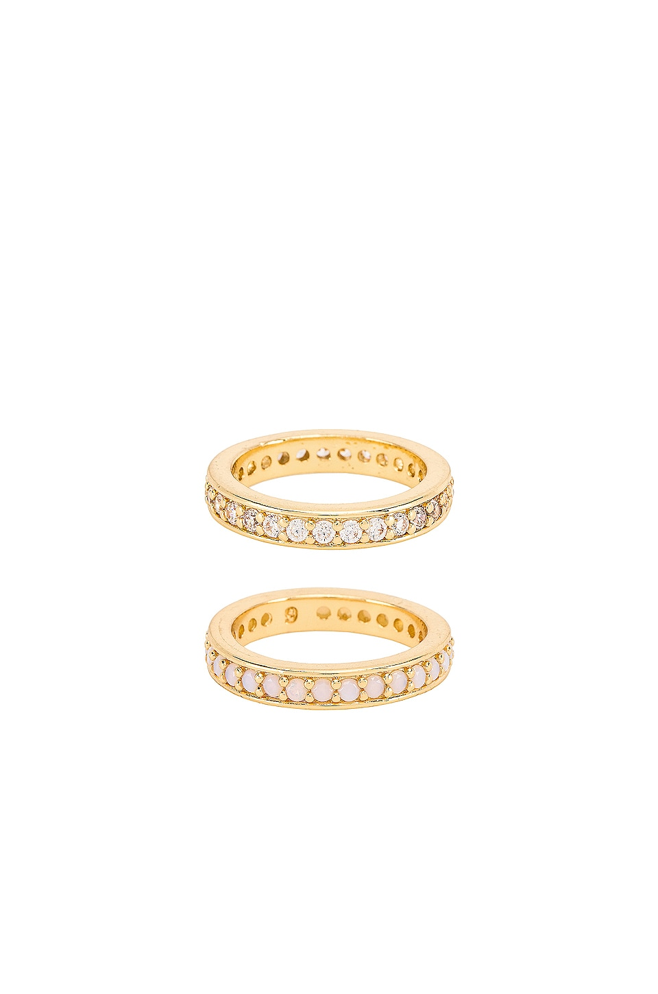 Ettika Opal and Diamond Ring Set of 2 in Gold