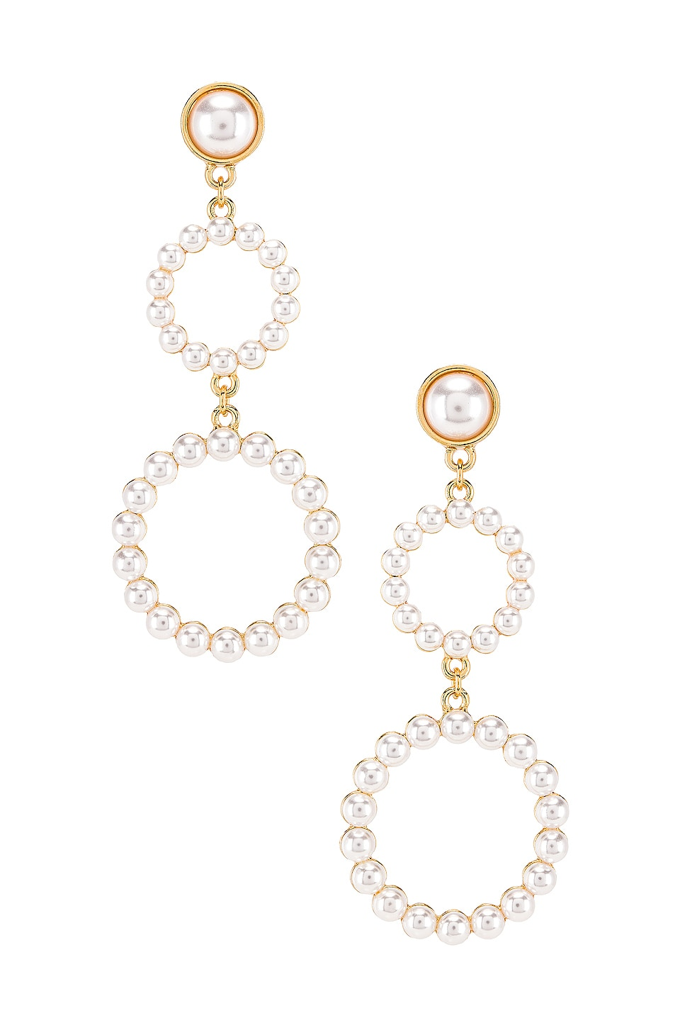 Ettika Drop Double Hoop Earring in Pearl & Gold