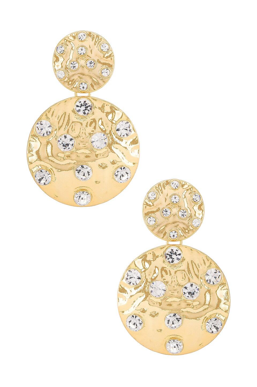 Ettika Double Disk Earring in Clear & Gold