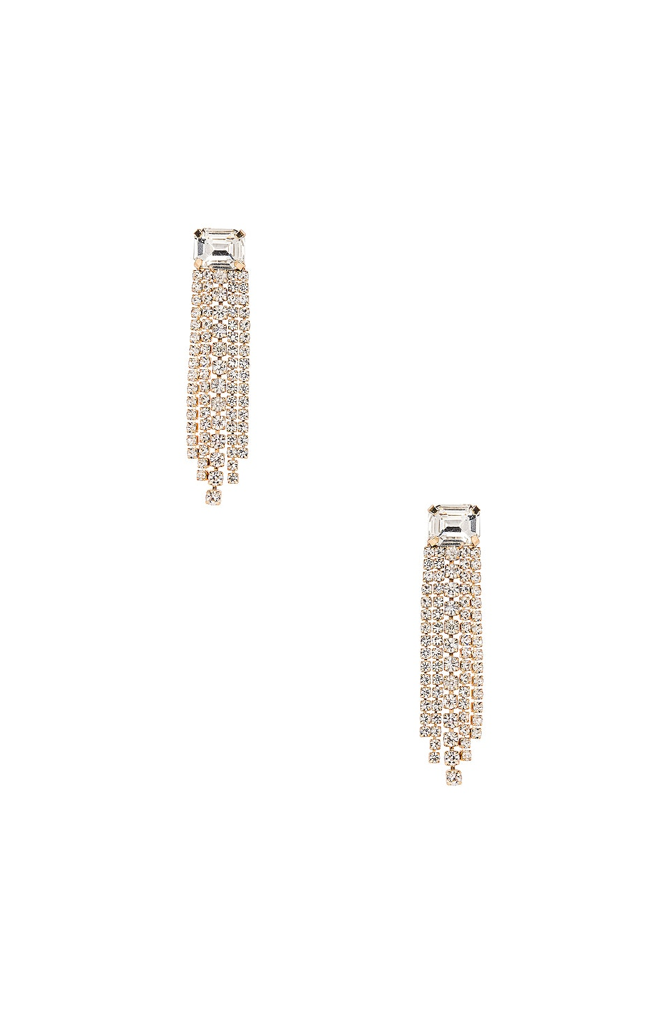 Ettika Fringe Earring in Clear & Gold