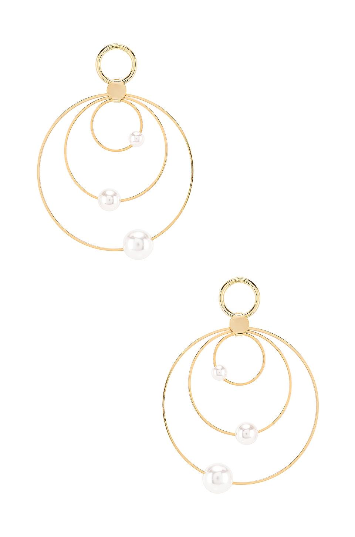 Ettika Pearl Hoop Earring in Pearl Gold