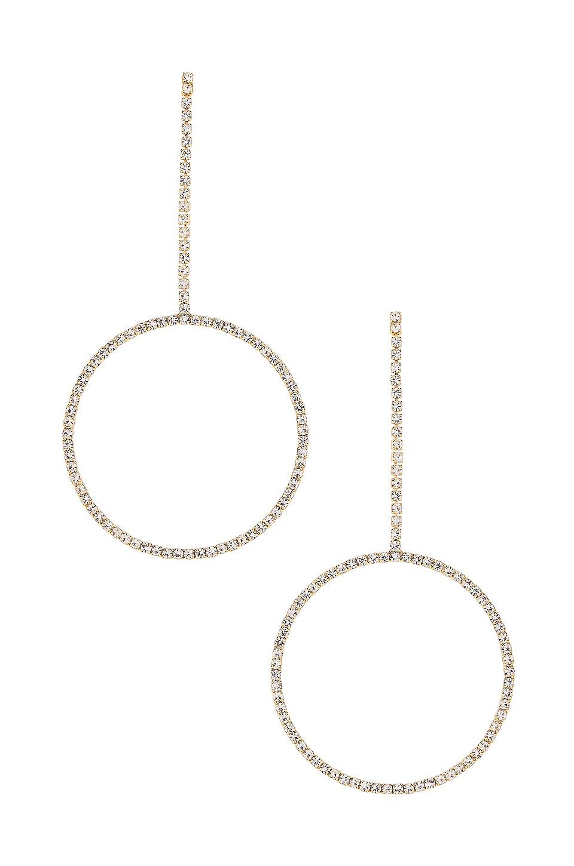 Ettika Dangle Hoop Earring in Clear & Gold