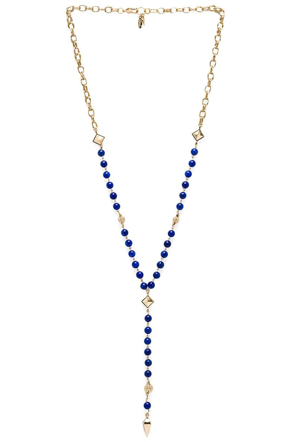 Ettika Rosary Necklace with Pyramids and Spikes in Blue