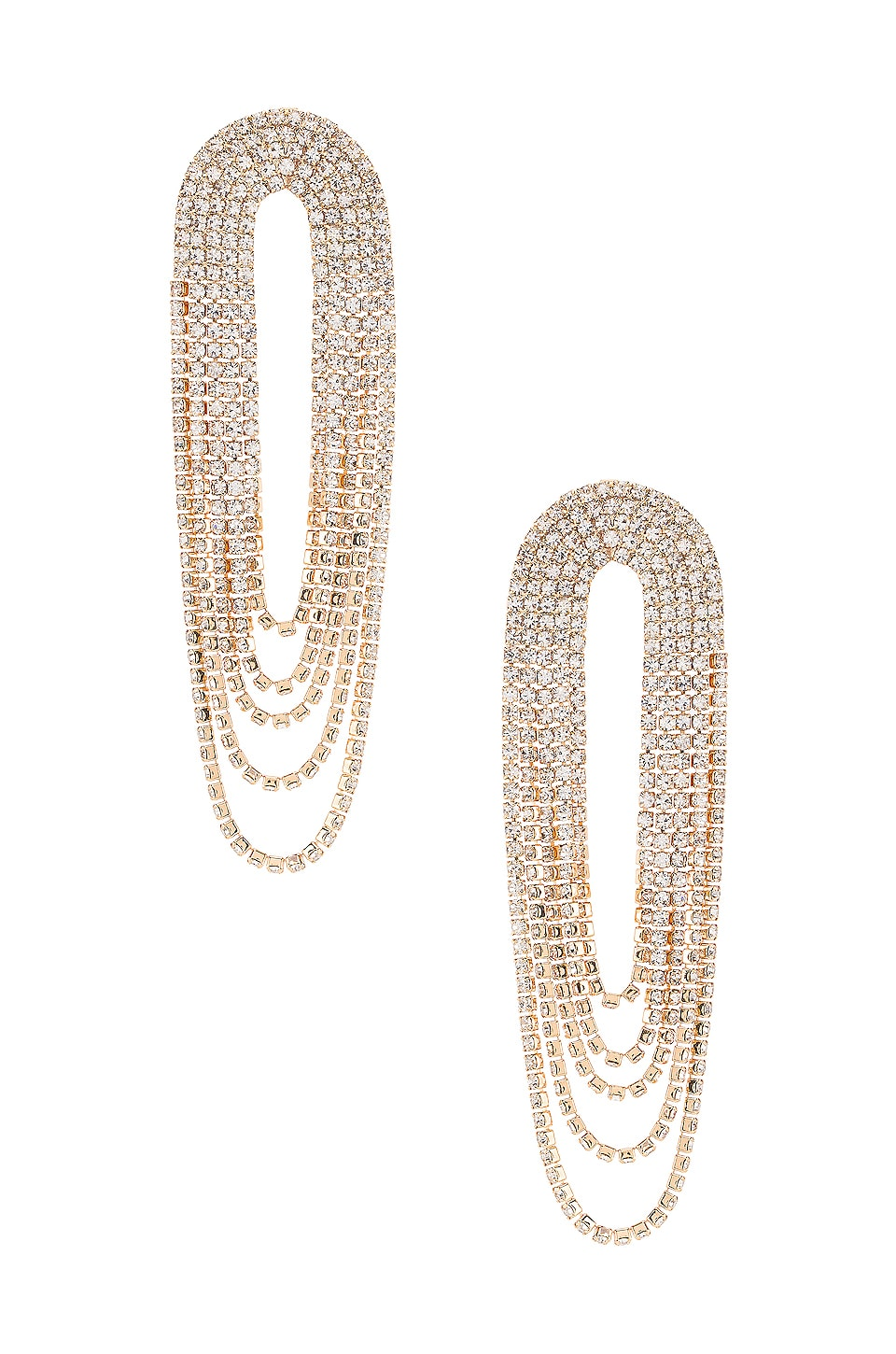 Ettika Draped Rhinestone Earring in Clear & Gold