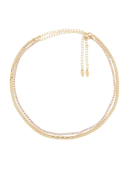 Ettika Layered Rhinestone Necklace in Clear & Gold