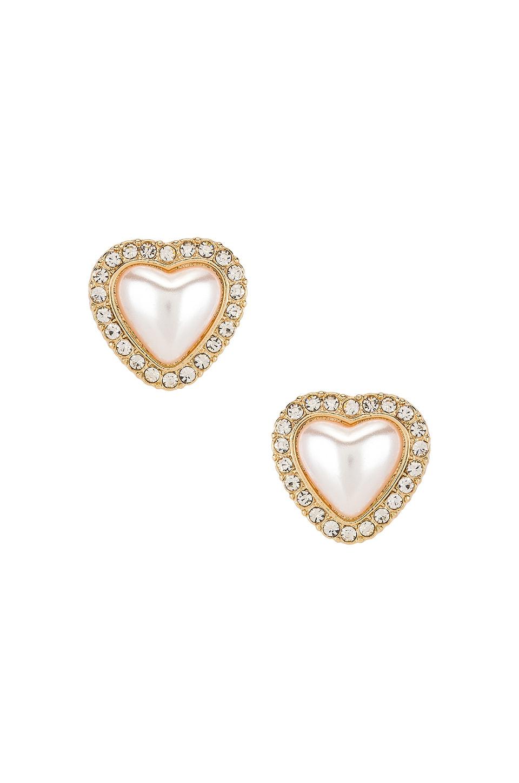 Ettika Pear Heart Stud Earrings in Gold