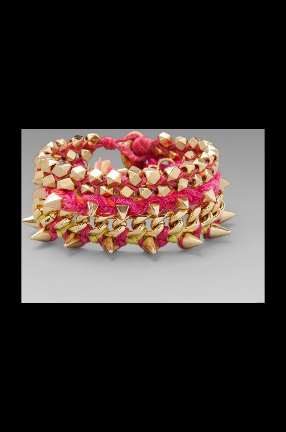 Ettika Gold Spike Wrap Bracelet in Fuchsia