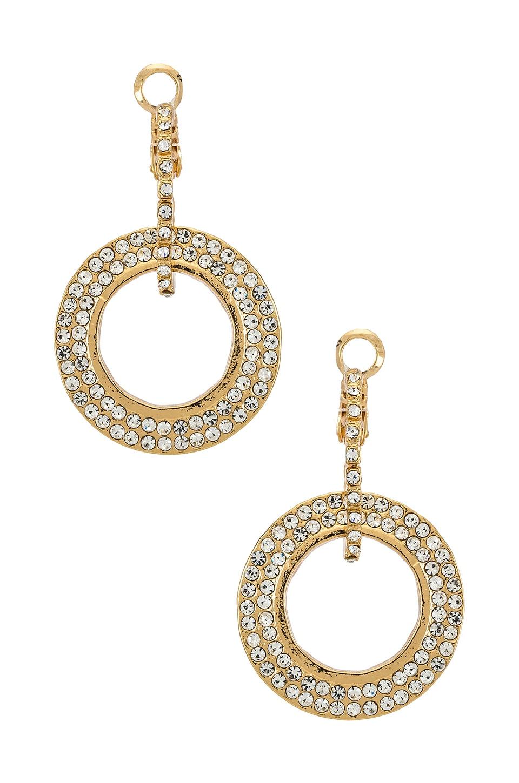 Ettika Drop Hoop CZ Earrings in Gold