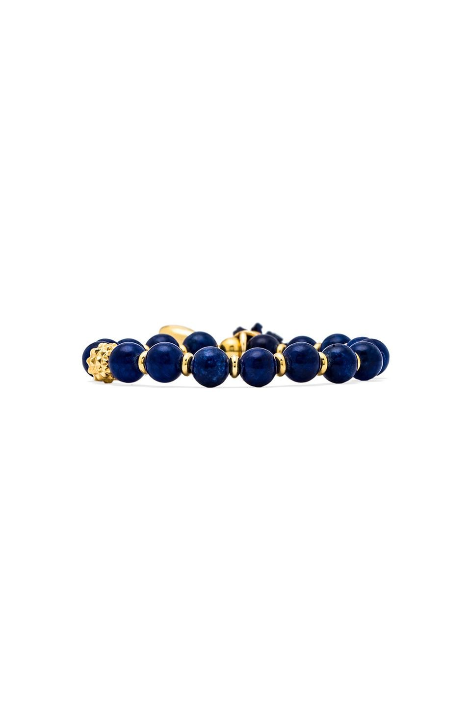 Ettika Beaded Bracelet with Seashell Tassle in Cobalt
