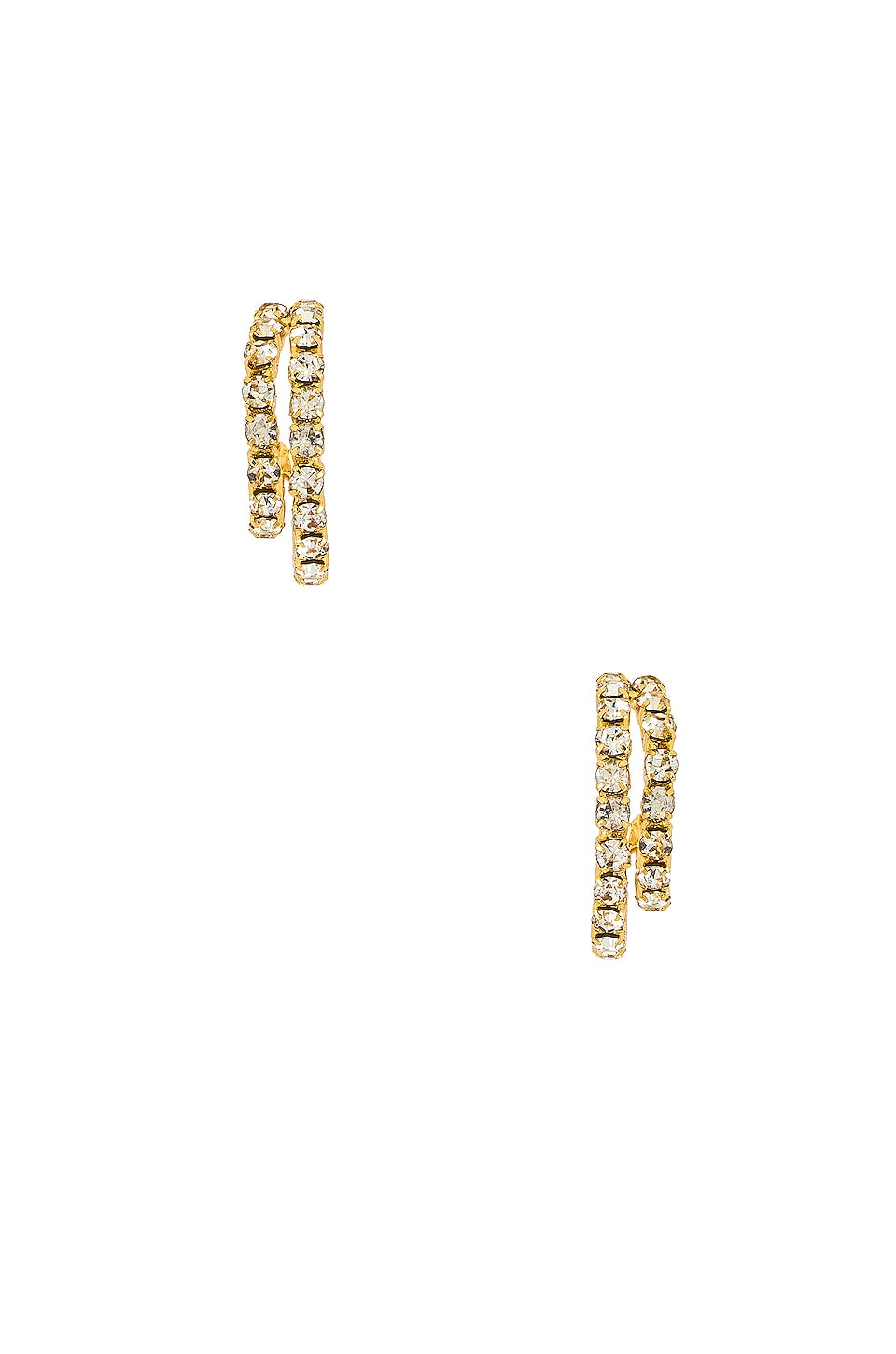 Ettika Rhinestone Huggies in Gold