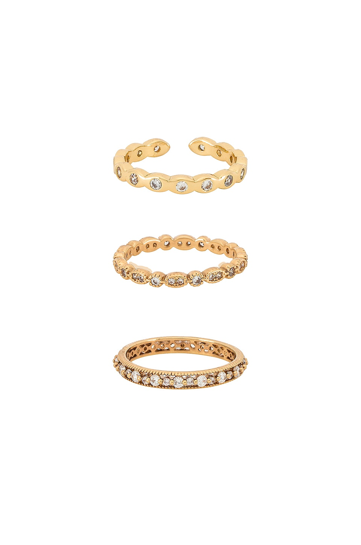 Ettika Crystal Ring Set in Gold