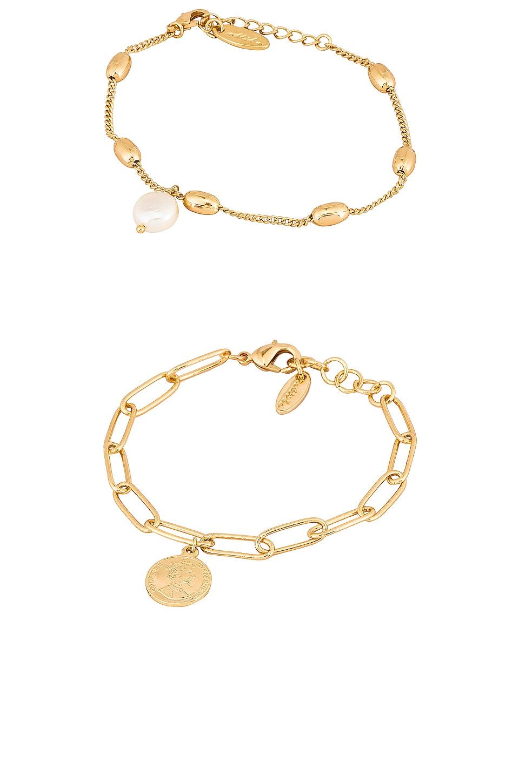 Ettika Charm Bracelet Set in Gold