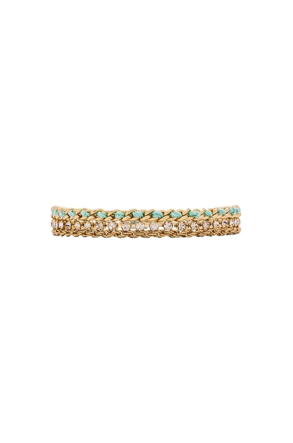 Ettika 3 Chain Bracelet in Gold & Mint