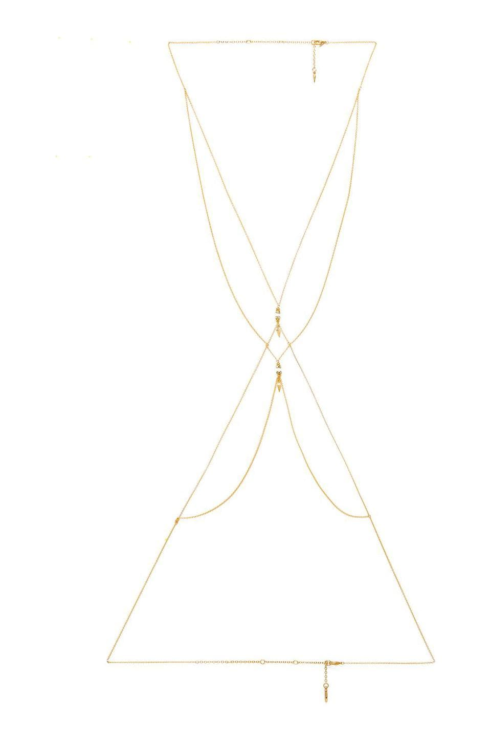 Ettika Spike Body Chain with Beads in Gold & White